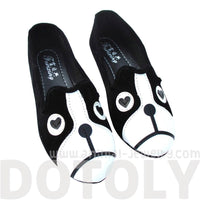 French Bulldog Face Animal Themed Embroidered Ballet Flats for Women