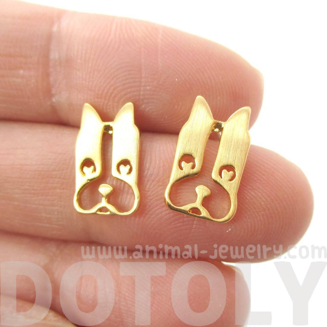 French Bulldog Cut Out Shaped Stud Earrings in Gold