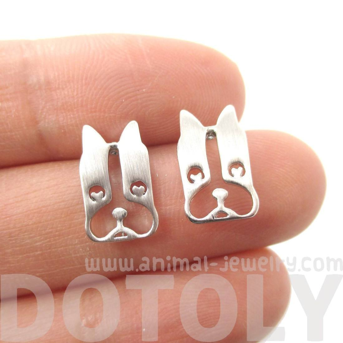 French Bulldog Cut Out Shaped Stud Earrings in Silver