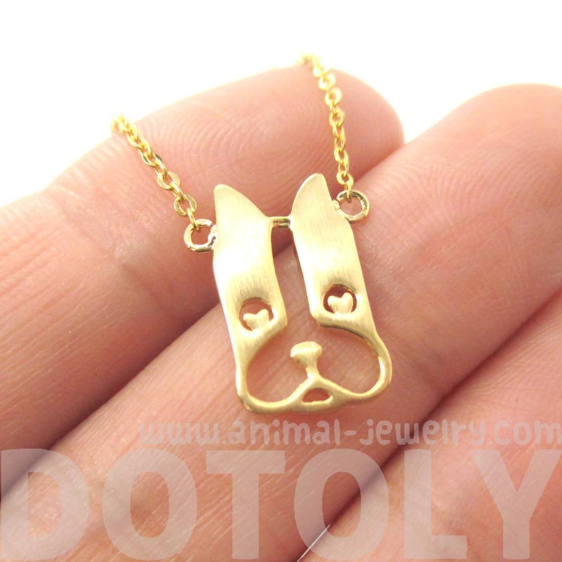 French Bulldog Shaped Cut Out Pendant Necklace in Gold