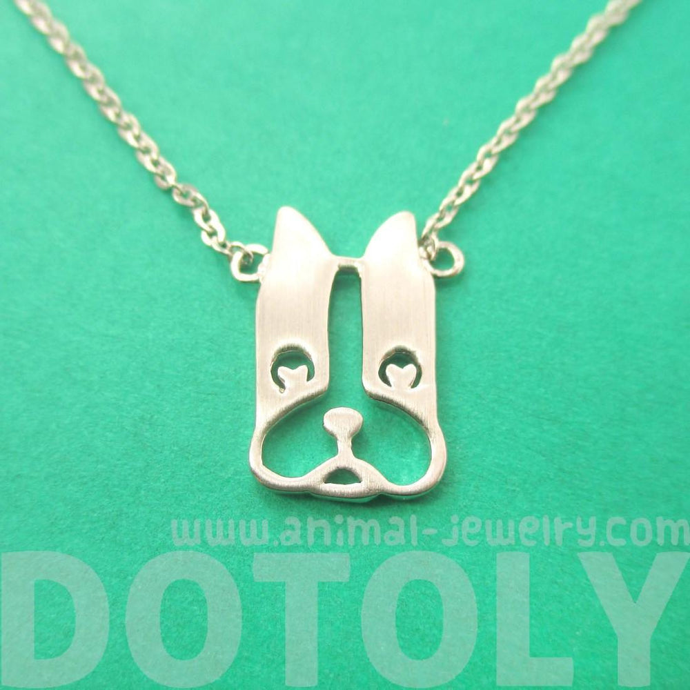 French Bulldog Shaped Cut Out Silver Pendant Necklace