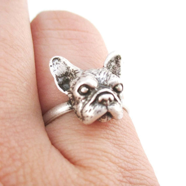 French Bulldog Face Shaped Frenchie Adjustable Ring | Animal Jewelry