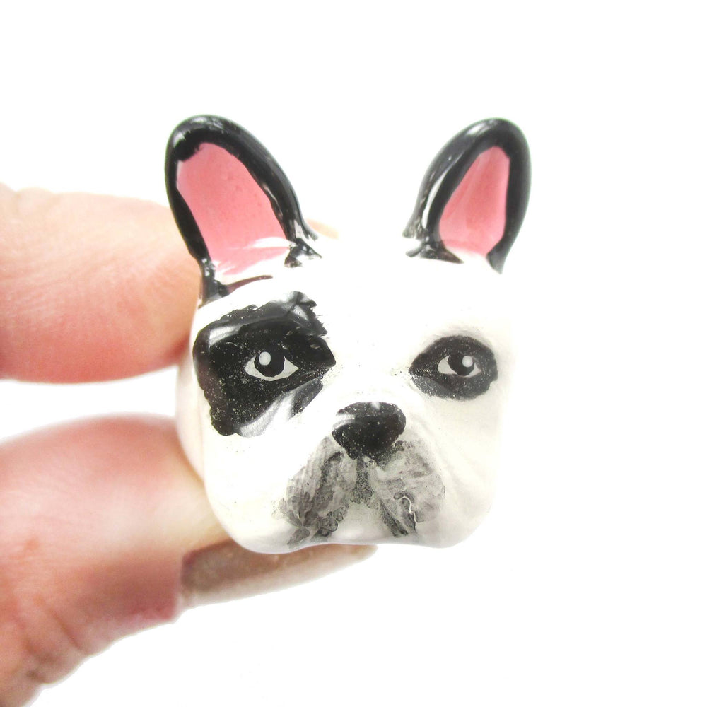 French Bulldog Frenchie Shaped Enamel Animal Ring in Black and White