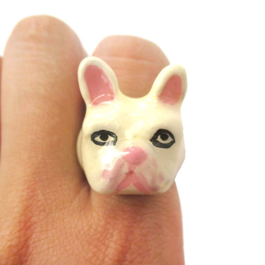 3D French Bulldog Frenchie Dog Shaped Enamel Animal Ring in White