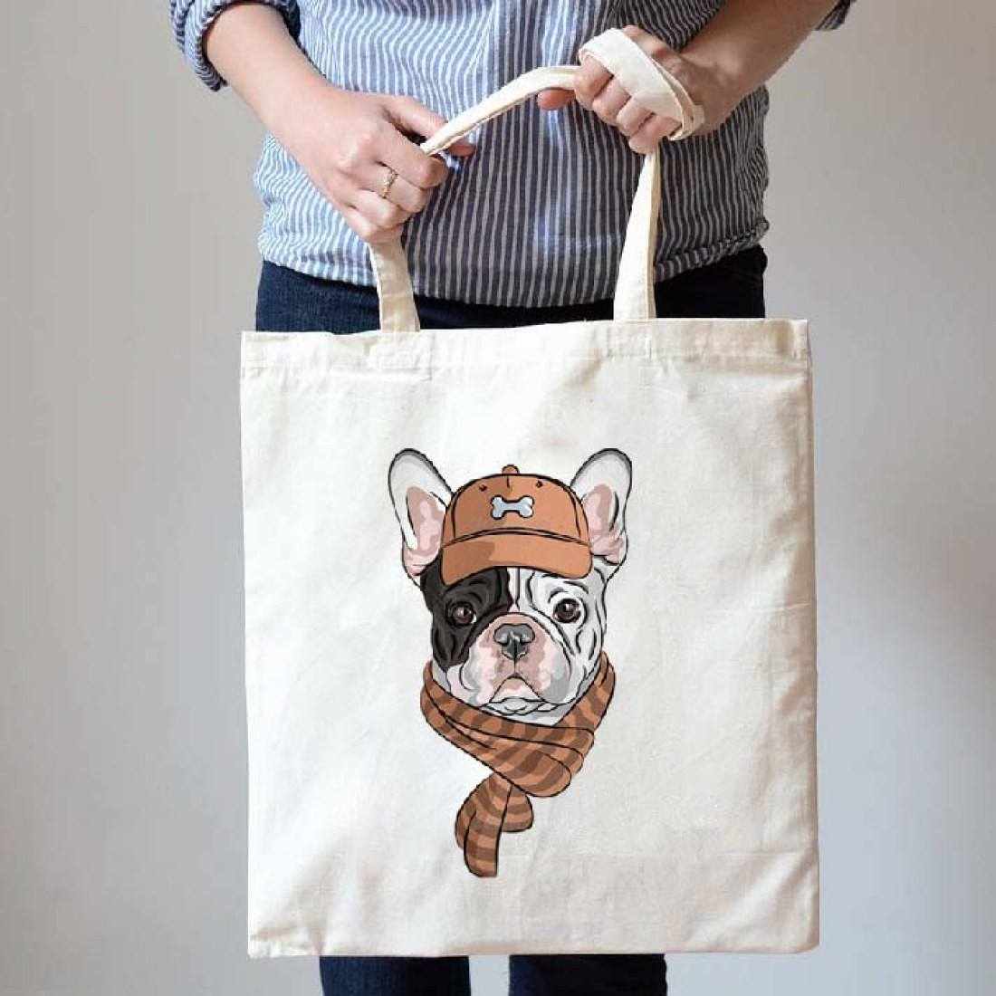 French Bulldog Frenchie in A Hat and Scarf Print Canvas Tote Bag