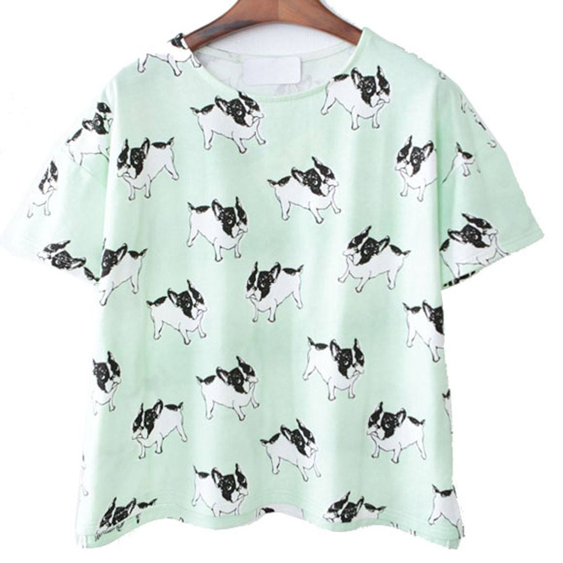French Bulldog Frenchie Dog Print T-Shirt in Mint Green