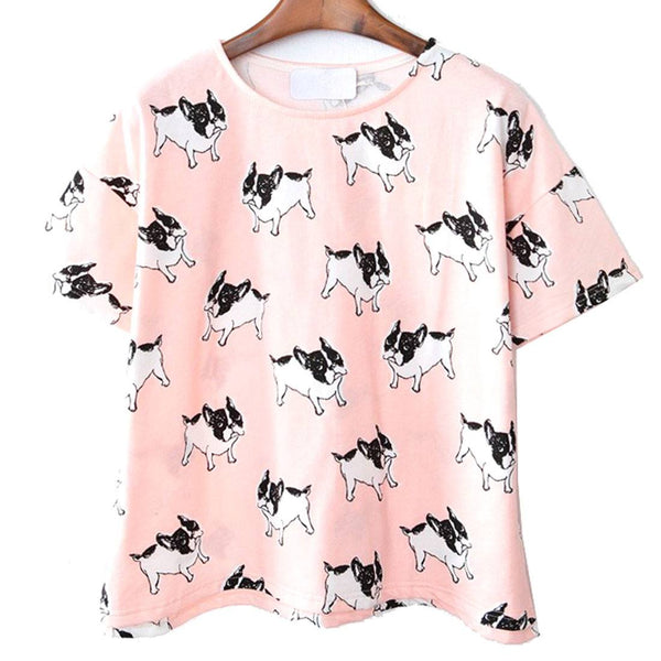 French Bulldog Frenchie Dog Print Graphic Tee in Pink