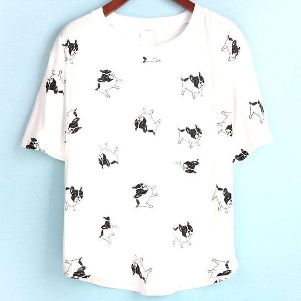 French Bulldog Frenchie Dog Print Graphic Tee in White