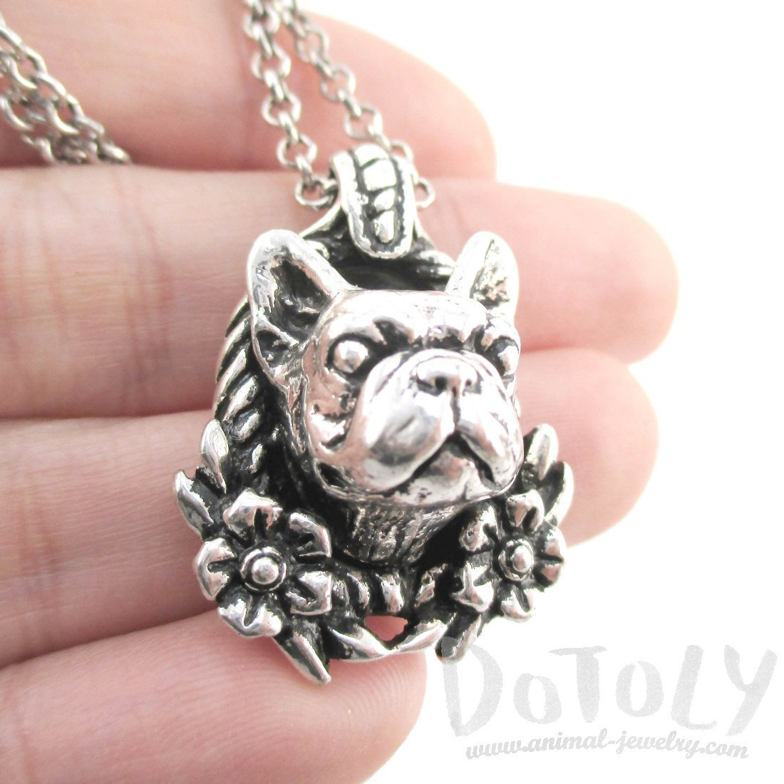 French Bulldog Floral Wreath Shaped Necklace in Silver