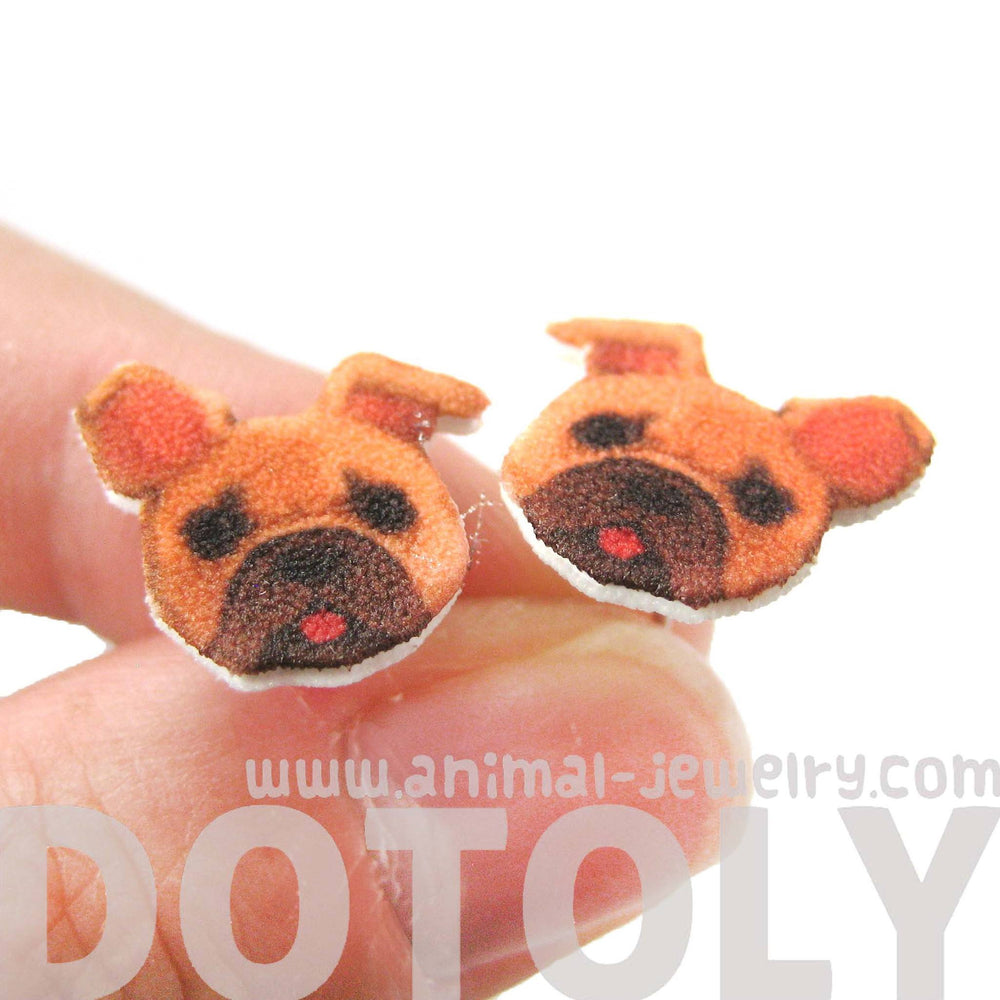 French Bulldog Puppy Animal Face Shaped Stud Earrings | Shrink Plastic