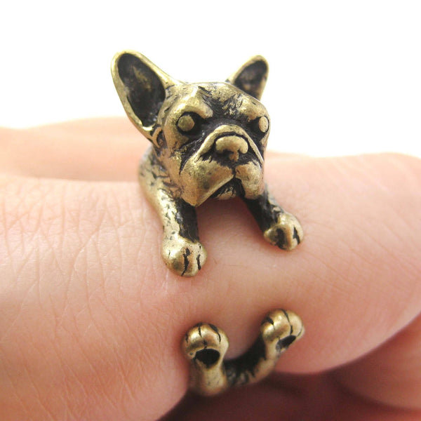 French Bulldog Puppy Dog Animal Wrap Around Ring in Brass - Sizes 4 to 9 | DOTOLY