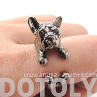 French Bulldog Puppy Dog Animal Wrap Around Ring in Gunmetal Silver