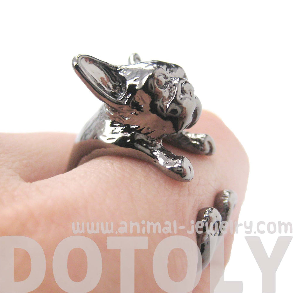 French Bulldog Puppy Dog Animal Wrap Around Ring in Gunmetal Silver | Sizes 4 to 9 | DOTOLY