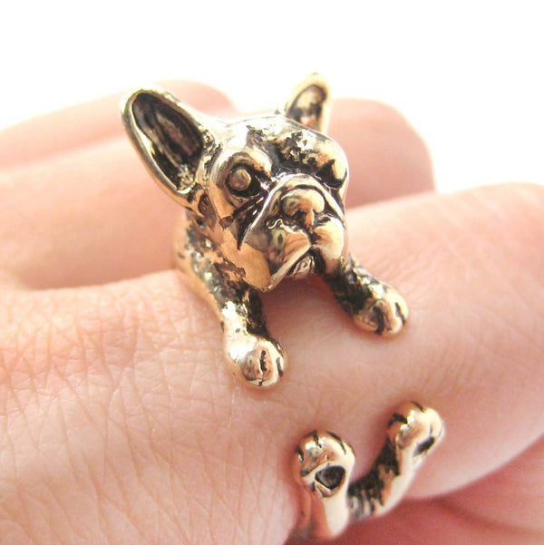 French Bulldog Puppy Dog Animal Wrap Ring in Shiny Gold Size 4 to 9