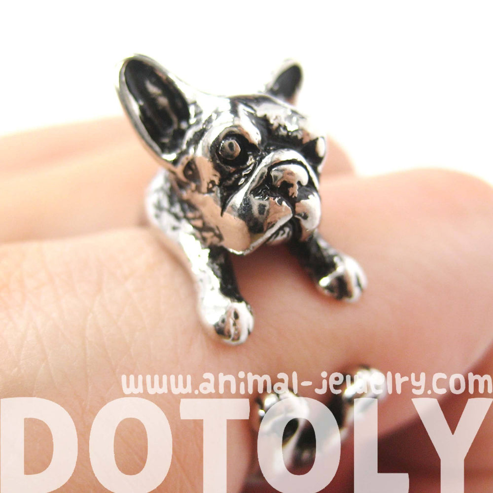 French Bulldog Puppy Dog Animal Wrap Around Ring in Shiny Silver - Sizes 4 to 9 | DOTOLY