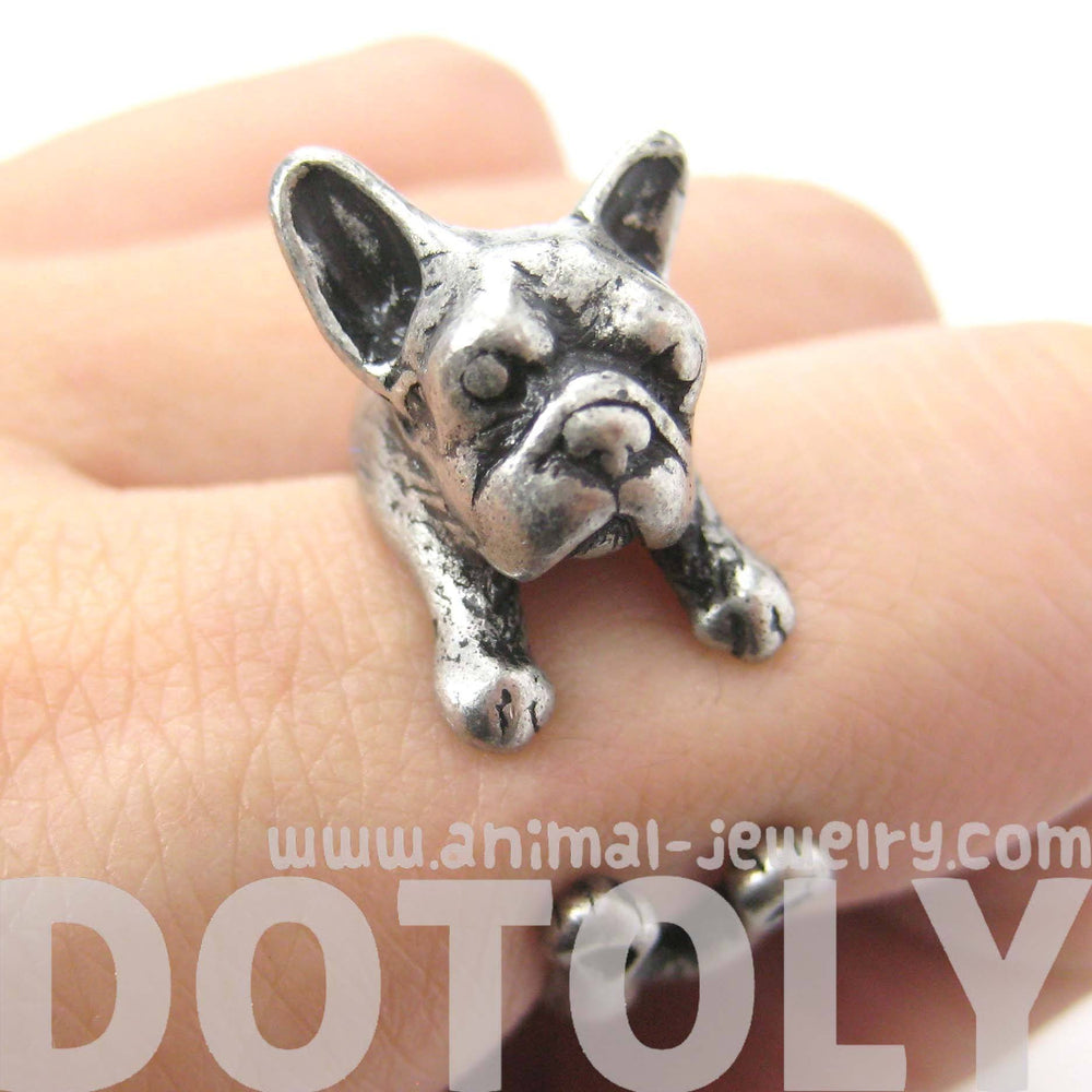French Bulldog Puppy Dog Animal Wrapped Around Ring in Silver | Sizes 4 to 9 | DOTOLY