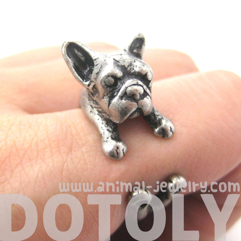 French Bulldog Puppy Dog Animal Wrapped Around Ring in Silver | Sizes 4 to 9