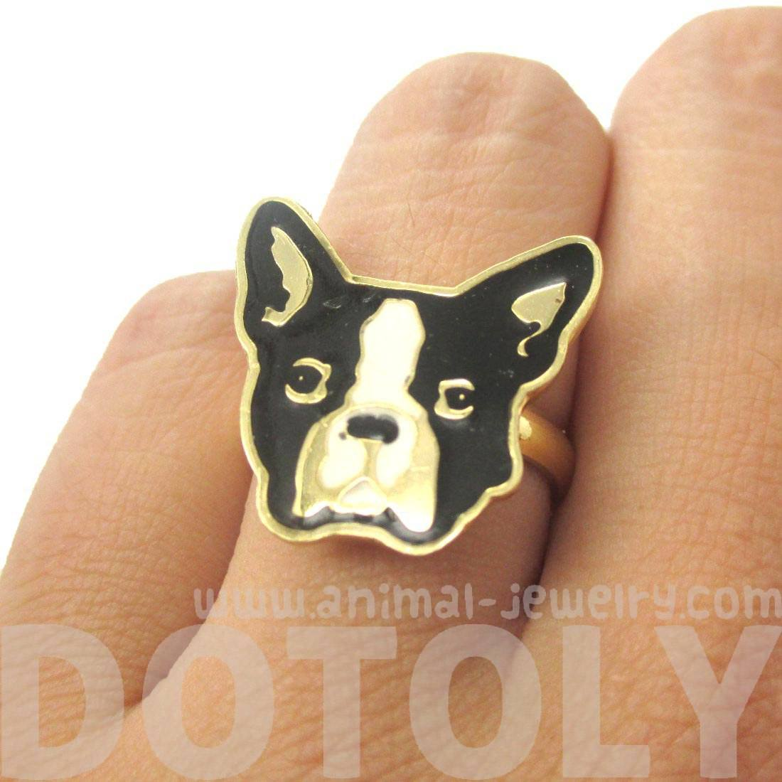 French Bulldog Dog Face Shaped Limited Edition Adjustable Animal Ring