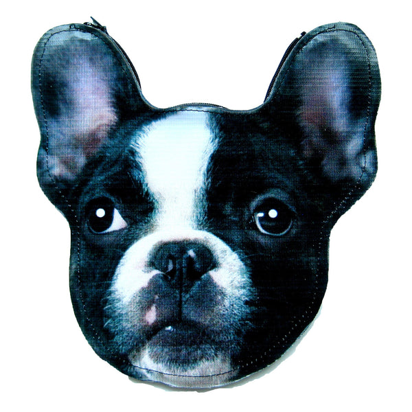 French Bulldog Puppy Dog Head Shaped Vinyl Animal Themed Clutch Bag | DOTOLY | DOTOLY