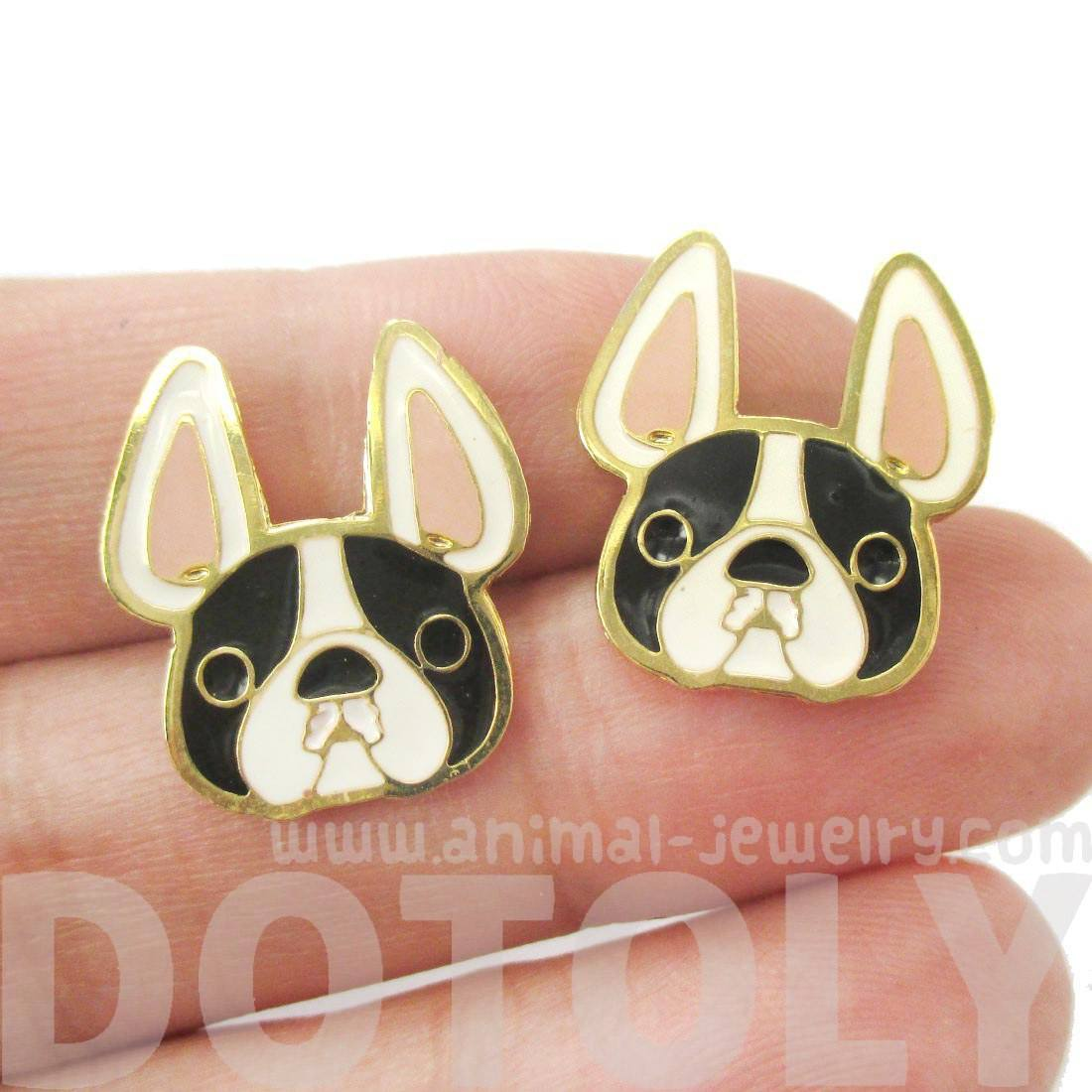 French Bulldog Puppy Face Shaped Black and White Animal Stud Earrings