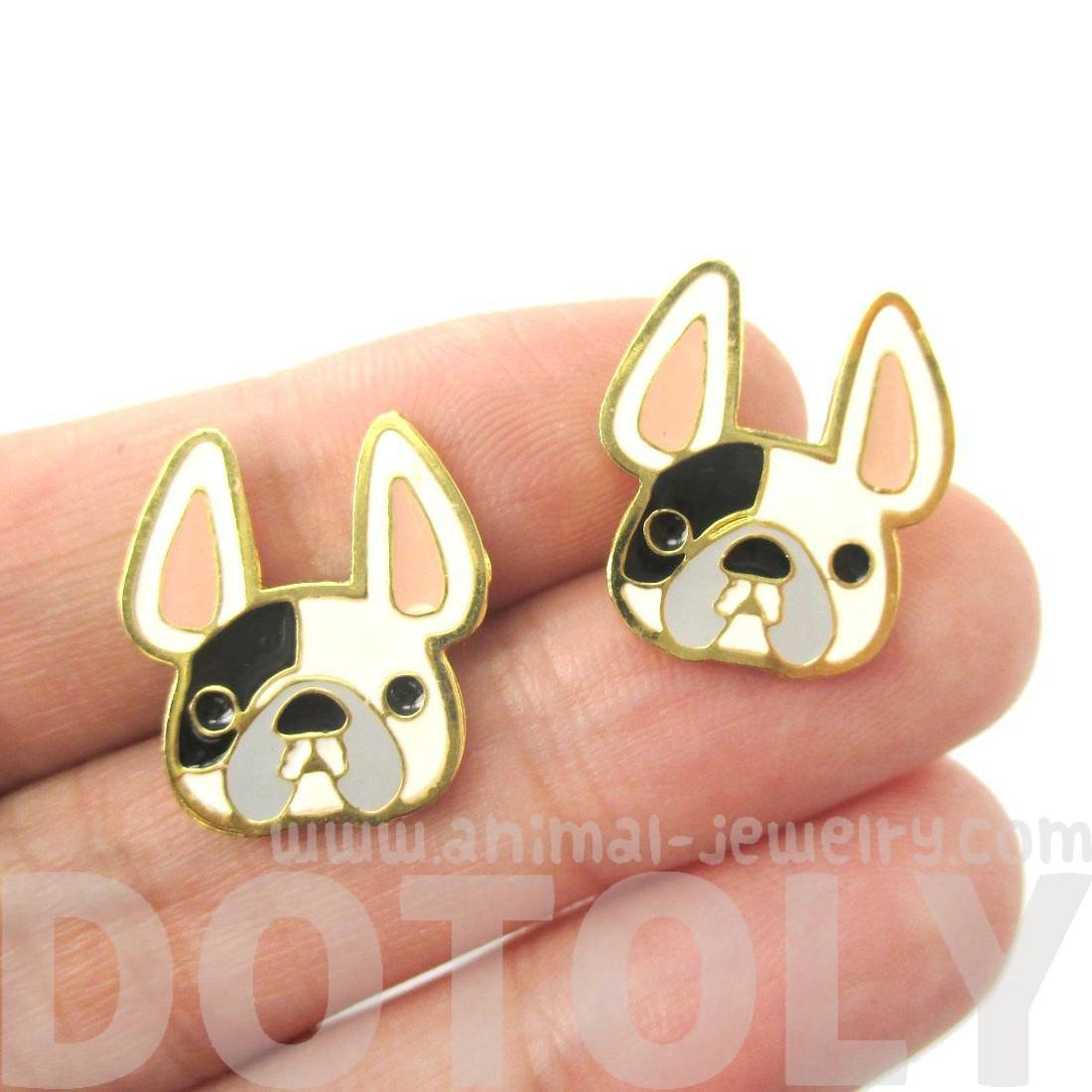 Cute French Bulldog Puppy Face Shaped Animal Stud Earrings in White