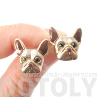 French Bulldog Puppy Dog Face Shaped Stud Earrings