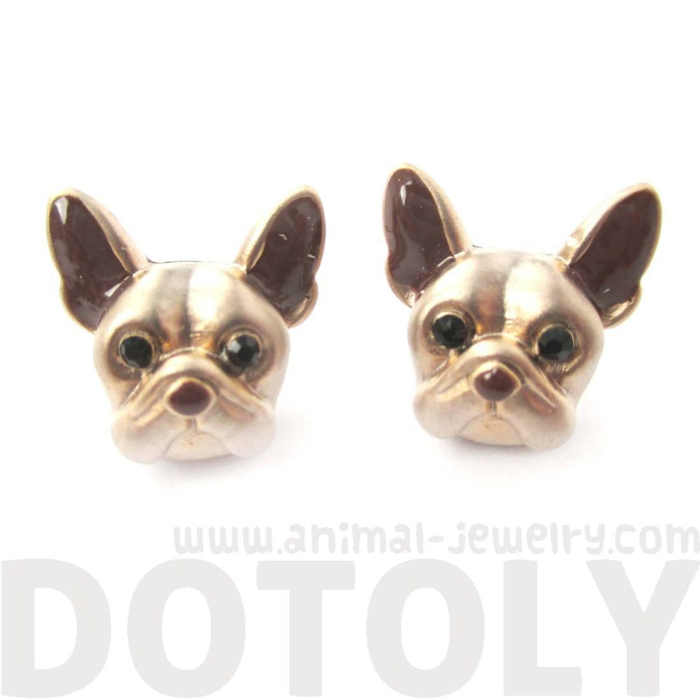 French Bulldog Puppy Face Shaped Stud Earrings | Animal Jewelry for Dog Lovers | DOTOLY