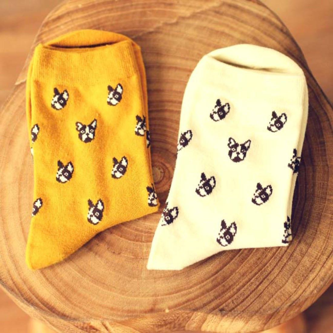French Bulldog Puppy Head Print Animal Themed Cotton Socks in White