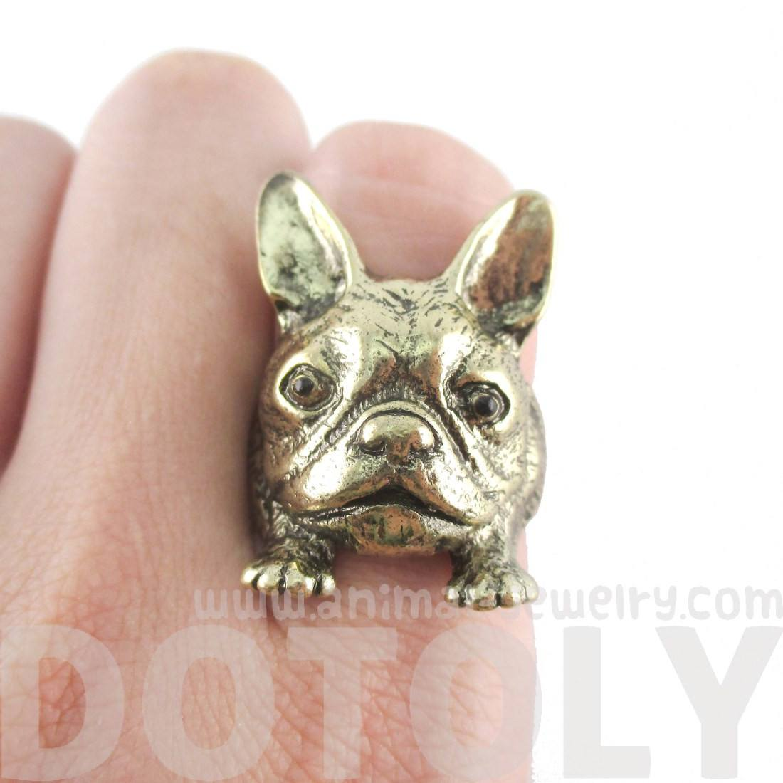 French Bulldog Puppy Head Shaped Animal Ring in Size 6