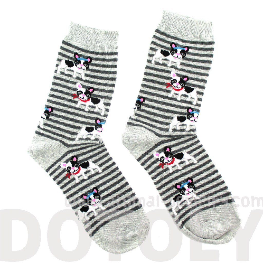 French Bulldog Puppy Print Socks with Grey Stripes