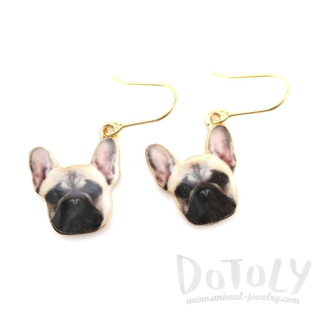 French Bulldog Puppy Shaped Dangle Drop Earrings