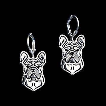 French Bulldog Puppy Shaped Drop Earrings in Silver