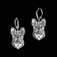 French Bulldog Puppy Shaped Drop Dangle Earrings in Silver | Animal Jewelry | DOTOLY