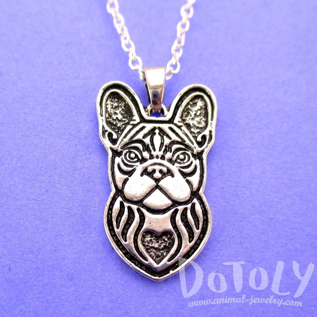 French Bulldog Shaped Pendant Necklace in Silver | Animal Jewelry