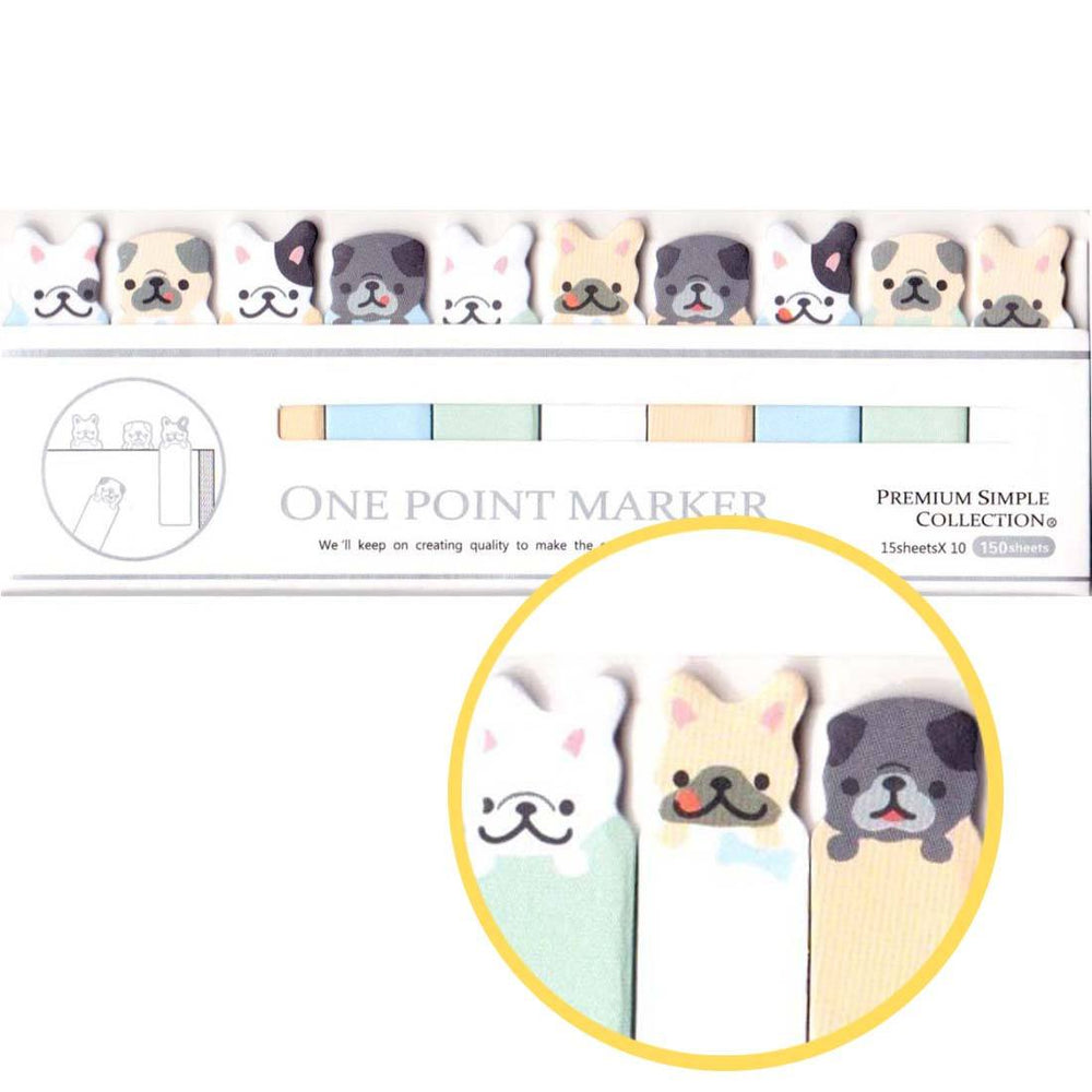 French Bulldogs and Pugs Shaped Sticky Post-it Memo Bookmark Tabs