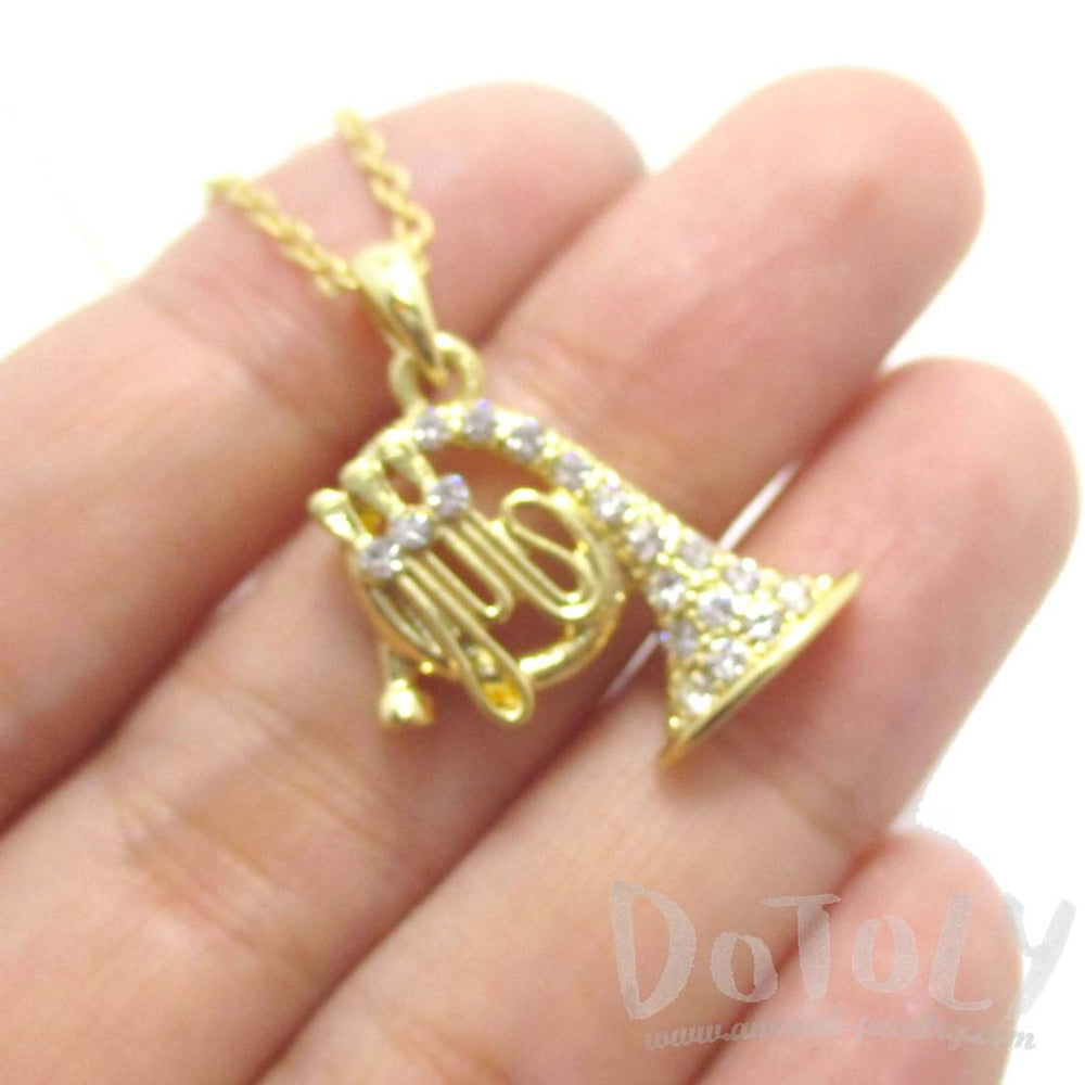 French Horn Instrument Shaped Rhinestone Pendant Necklace in Gold | For Music Lovers | DOTOLY