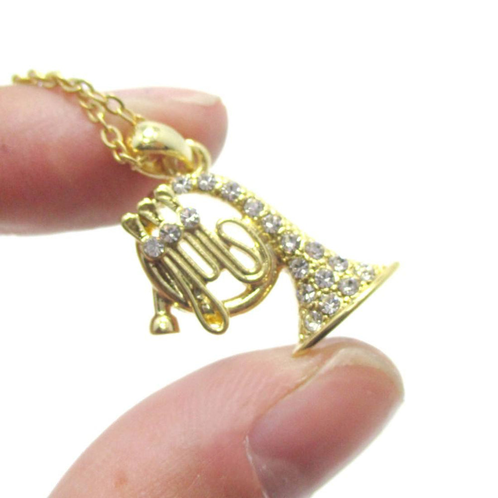 French Horn Shaped Rhinestone Pendant Necklace in Gold