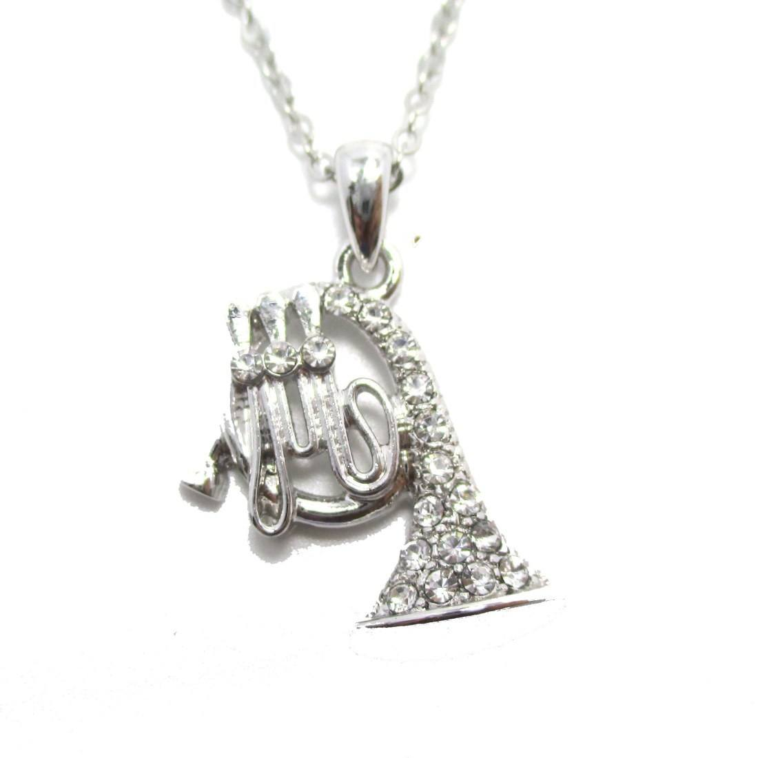 French Horn Shaped Rhinestone Charm Necklace in Silver