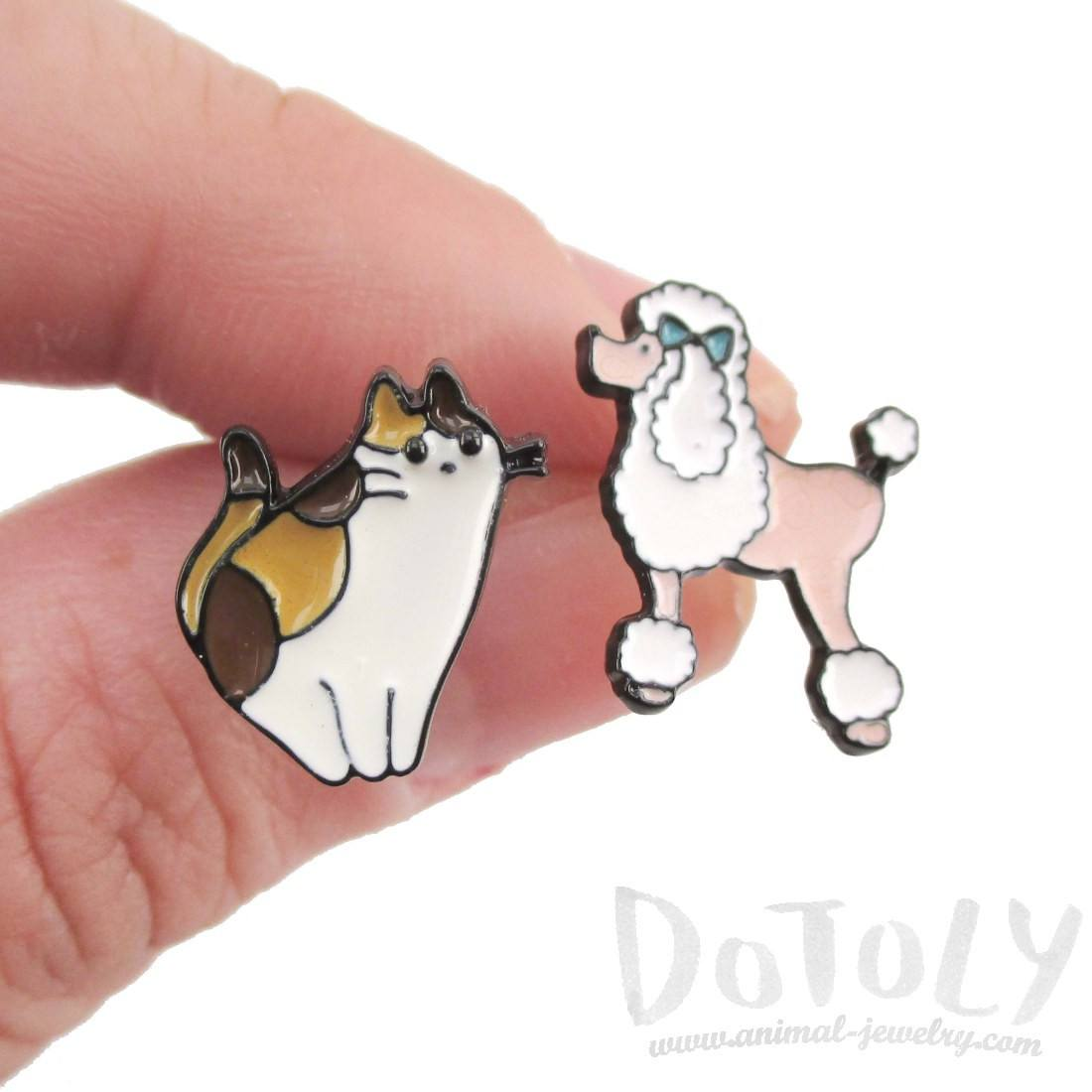 French Poodle and Tabby Cat Shaped Stud Earrings | Animal Jewelry