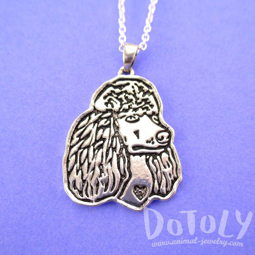 French Poodle Dog Portrait Pendant Necklace in Silver
