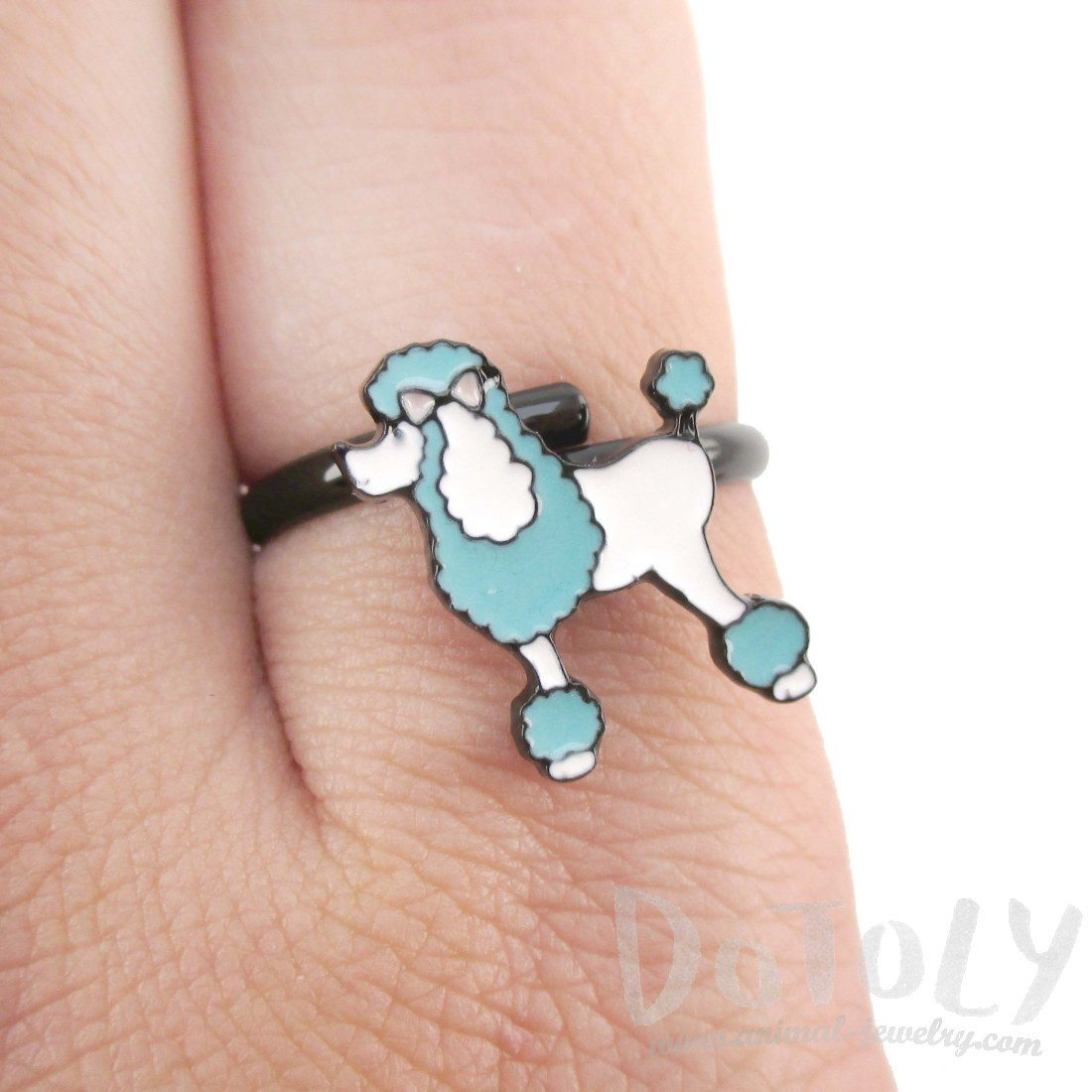 French Poodle Dog Shaped Enamel Adjustable Ring | DOTOLY
