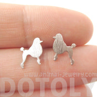 French Poodle Shaped Silhouette Stud Earrings in Silver