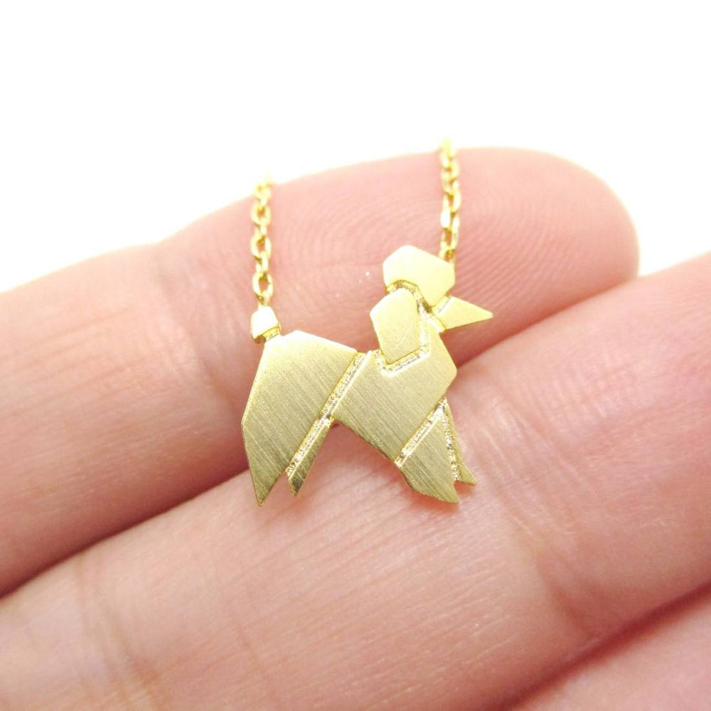 French Poodle Origami Shaped Pendant Necklace in Gold