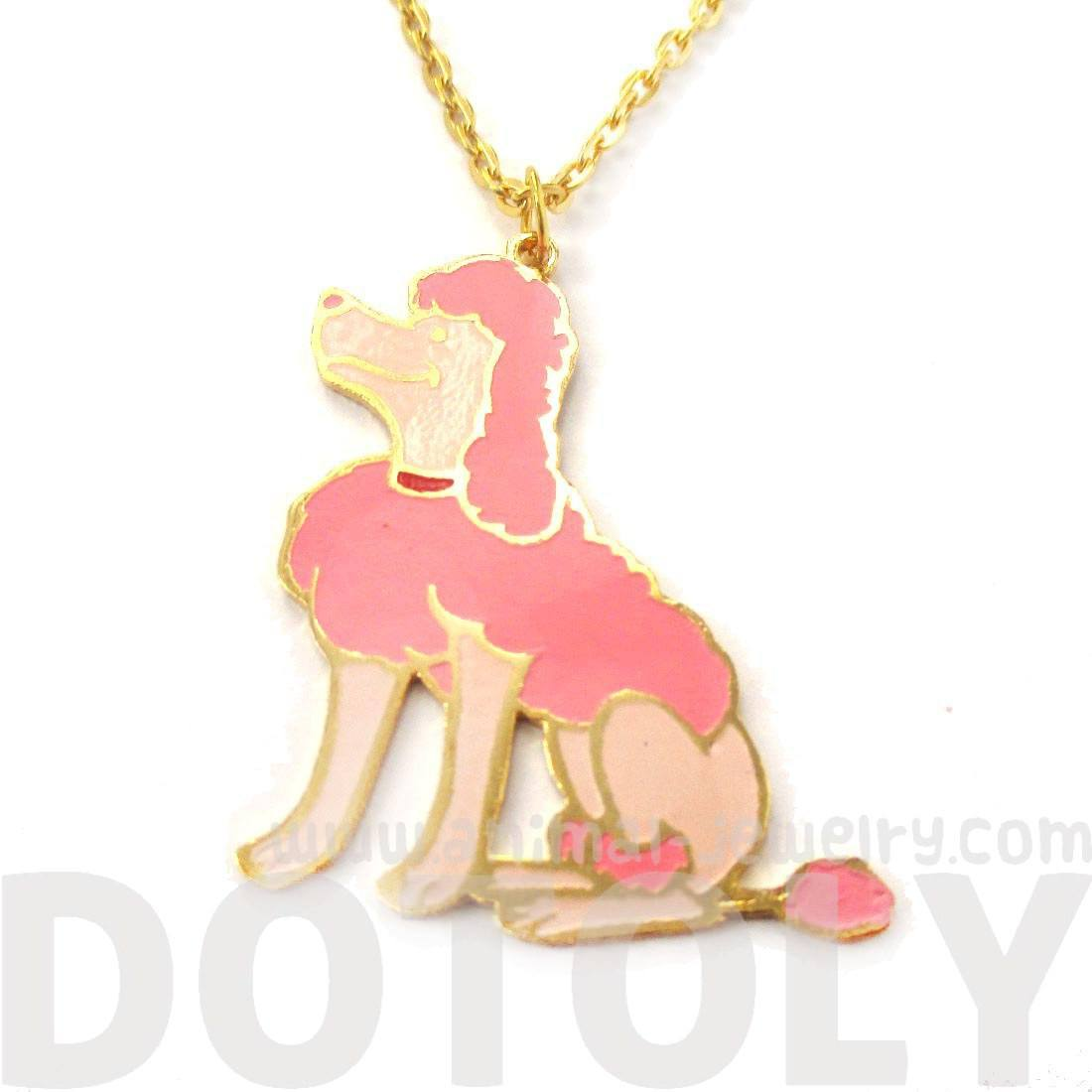 French Poodle Puppy Dog Shaped Limited Edition Animal Pendant Necklace