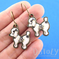 French Poodle Puppy Shaped Dangle Drop Earrings in Black
