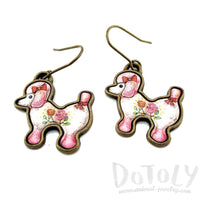 French Poodle Puppy Shaped Dangle Drop Earrings in Pink