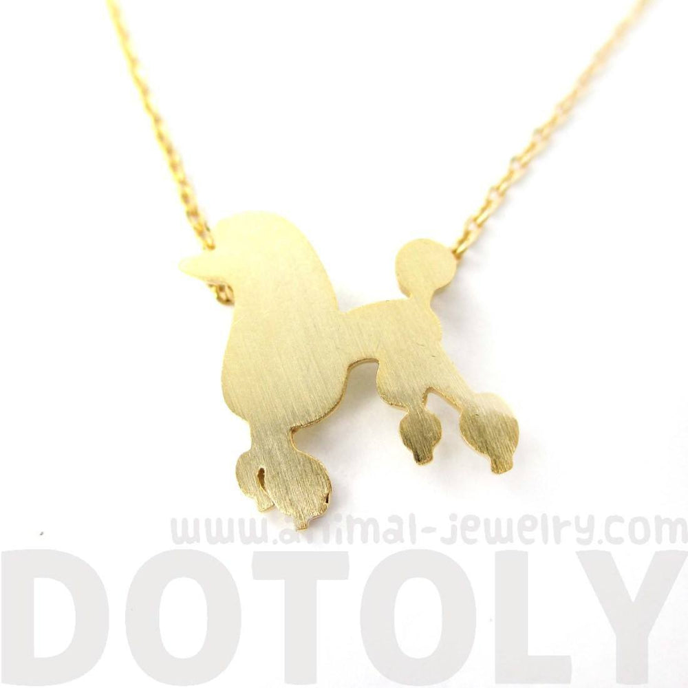 French Poodle Silhouette Shaped Animal Pendant Necklace in Gold