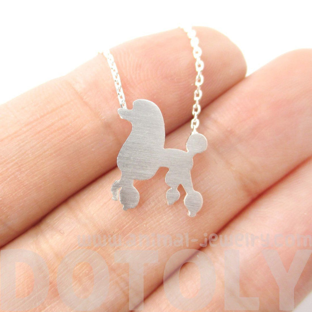 French Poodle Silhouette Shaped Animal Pendant Necklace in Silver