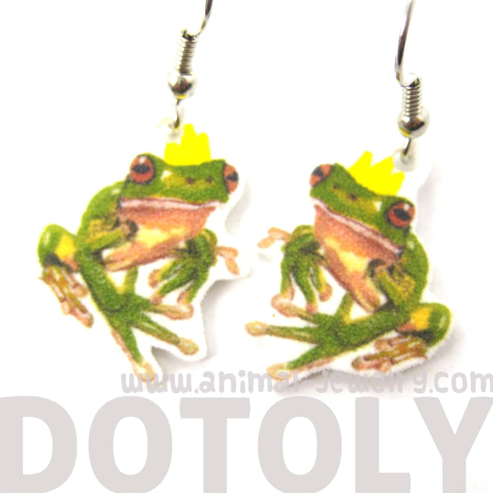 frog-prince-animal-watercolor-dangle-earrings-handmade-shrink-plastic