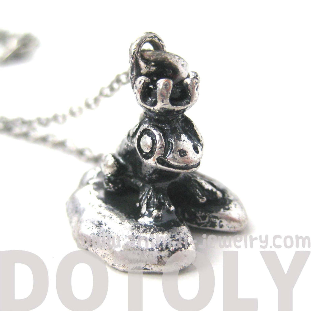 Frog Prince on A Lily Pad Animal Themed Pendant Necklace in Silver